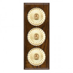 Hamilton Bloomsbury Ovolo Dark Oak Fluted Polished Brass 3 Gang 2 Way Toggle with Black Insert