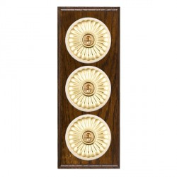 Hamilton Bloomsbury Ovolo Dark Oak Fluted Polished Brass 3 Gang 2 Way Toggle with White Insert