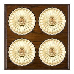 Hamilton Bloomsbury Ovolo Dark Oak Fluted Polished Brass 4 Gang 2 Way Toggle with Black Insert