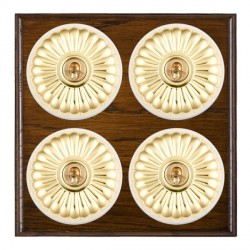 Hamilton Bloomsbury Ovolo Dark Oak Fluted Polished Brass 4 Gang 2 Way Toggle with White Insert
