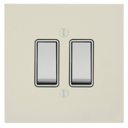 Focus SB Ambassador Square Corners NAPW10.2W 2 gang 20 amp 2 way rocker switch in Primed White with white inserts