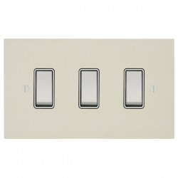 Focus SB Ambassador Square Corners NAPW10.3W 3 gang 20 amp 2 way rocker switch in Primed White with white inserts