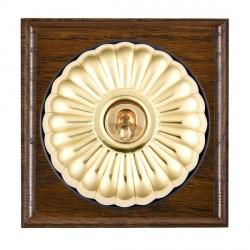 Hamilton Bloomsbury Ovolo Dark Oak Fluted Polished Brass 1 Gang Intermediate Toggle with Black Insert