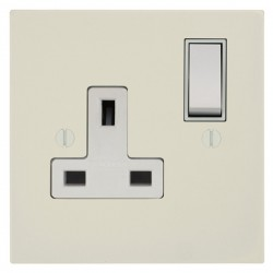 Focus SB Ambassador Square Corners NAPW17.1W 1 gang 13 amp switched socket in Primed White with white inserts