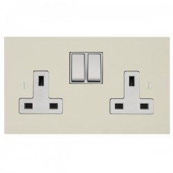 Focus SB Ambassador Square Corners NAPW17.2W 2 gang 13 amp switched socket in Primed White with white inserts