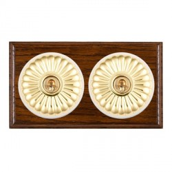 Hamilton Bloomsbury Ovolo Dark Oak Fluted Polished Brass 2 Gang Intermediate Toggle with White Insert