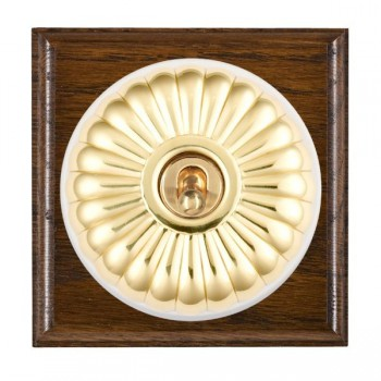 Hamilton Bloomsbury Ovolo Dark Oak Fluted Polished Brass 1 Gang Double Pole Toggle with White Insert