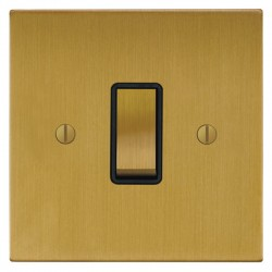 Focus SB Ambassador Square Corners NASB11.1B 1 gang 20 amp 2 way rocker switch in Satin Brass with black ...