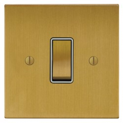 Focus SB Ambassador Square Corners NASB11.1W 1 gang 20 amp 2 way rocker switch in Satin Brass with white ...