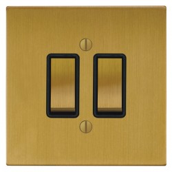 Focus SB Ambassador Square Corners NASB11.2B 2 gang 20 amp 2 way rocker switch in Satin Brass with black ...