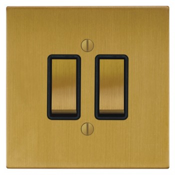 Focus SB Ambassador Square Corners NASB11.2B 2 gang 20 amp 2 way rocker switch in Satin Brass with black inserts