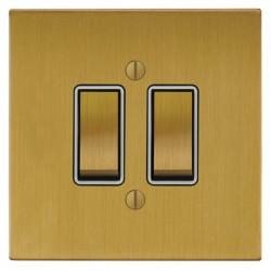 Focus SB Ambassador Square Corners NASB11.2W 2 gang 20 amp 2 way rocker switch in Satin Brass with white ...