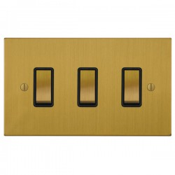 Focus SB Ambassador Square Corners NASB11.3B 3 gang 20 amp 2 way rocker switch in Satin Brass with black inserts