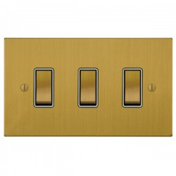 Focus SB Ambassador Square Corners NASB11.3W 3 gang 20 amp 2 way rocker switch in Satin Brass with white ...