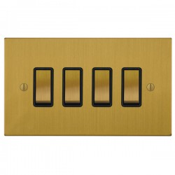 Focus SB Ambassador Square Corners NASB11.4B 4 gang 20 amp 2 way rocker switch in Satin Brass with black ...