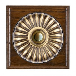 Hamilton Bloomsbury Ovolo Dark Oak Fluted Antique Brass Bell Push Toggle with Black Insert