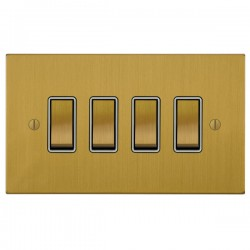 Focus SB Ambassador Square Corners NASB11.4W 4 gang 20 amp 2 way rocker switch in Satin Brass with white ...