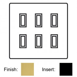 Focus SB Ambassador Square Corners NASB11.6B 6 gang 20 amp 2 way rocker switch in Satin Brass with black ...