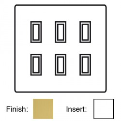 Focus SB Ambassador Square Corners NASB11.6W 6 gang 20 amp 2 way rocker switch in Satin Brass with white ...