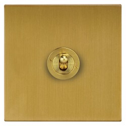 Focus SB Ambassador Square Corners NASB14.1 1 gang 20 amp 2 way toggle switch in Satin Brass