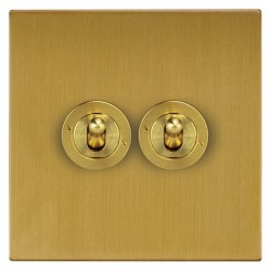 Focus SB Ambassador Square Corners NASB14.2 2 gang 20 amp 2 way toggle switch in Satin Brass