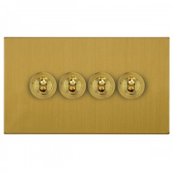 Focus SB Ambassador Square Corners NASB14.4 4 gang 20 amp 2 way toggle switch in Satin Brass