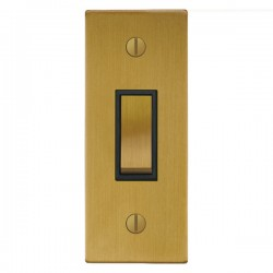Focus SB Ambassador Square Corners NASB16.1B 1 gang 20 amp 2 way architrave switch in Satin Brass with bl...