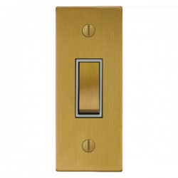Focus SB Ambassador Square Corners NASB16.1W 1 gang 20 amp 2 way architrave switch in Satin Brass with wh...