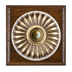 Hamilton Bloomsbury Ovolo Dark Oak Fluted Antique Brass Bell Push Toggle with White Insert