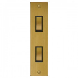 Focus SB Ambassador Square Corners NASB16.2B 2 gang 20 amp 2 way architrave switch in Satin Brass with bl...