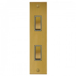 Focus SB Ambassador Square Corners NASB16.2W 2 gang 20 amp 2 way architrave switch in Satin Brass with wh...