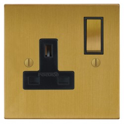 Focus SB Ambassador Square Corners NASB18.1B 1 gang 13 amp switched socket in Satin Brass with black inse...