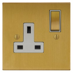 Focus SB Ambassador Square Corners NASB18.1W 1 gang 13 amp switched socket in Satin Brass with white inse...