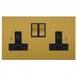 Focus SB Ambassador Square Corners NASB18.2B 2 gang 13 amp switched socket in Satin Brass with black inse...
