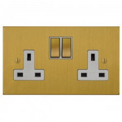 Focus SB Ambassador Square Corners NASB18.2W 2 gang 13 amp switched socket in Satin Brass with white inse...