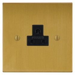 Focus SB Ambassador Square Corners NASB19.1B 1 gang 2 amp unswitched socket in Satin Brass with black ins...