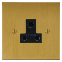 Focus SB Ambassador Square Corners NASB20.1B 1 gang 5 amp unswitched socket in Satin Brass with black ins...