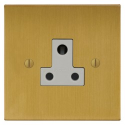 Focus SB Ambassador Square Corners NASB20.1W 1 gang 5 amp unswitched socket in Satin Brass with white ins...