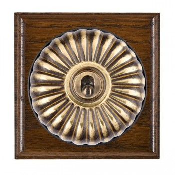 Hamilton Bloomsbury Ovolo Dark Oak Fluted Antique Brass 1 Gang 2 Way Toggle with Black Insert