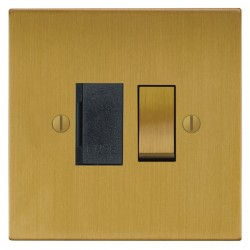 Focus SB Ambassador Square Corners NASB26.1B 13 amp switched fuse spur in Satin Brass with black inserts