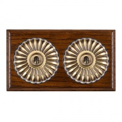Hamilton Bloomsbury Ovolo Dark Oak Fluted Antique Brass 2 Gang 2 Way Toggle with Black Insert