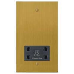 Focus SB Ambassador Square Corners NASB36.1B shaver socket (110/240V) in Satin Brass with black inserts