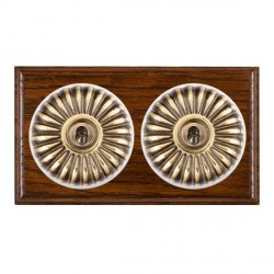 Hamilton Bloomsbury Ovolo Dark Oak Fluted Antique Brass 2 Gang 2 Way Toggle with White Insert