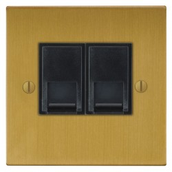 Focus SB Ambassador Square Corners NASB51.2B 2 gang CAT5 RJ45 socket in Satin Brass with black inserts