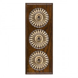Hamilton Bloomsbury Ovolo Dark Oak Fluted Antique Brass 3 Gang 2 Way Toggle with Black Insert