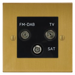 Focus SB Ambassador Square Corners NASB80.3B triplex TV/FM/Satellite outlet in Satin Brass with black ins...
