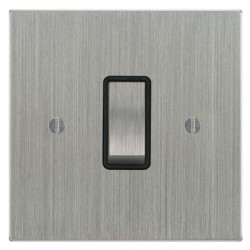 Focus SB Ambassador Square Corners NASC11.1B 1 gang 20 amp 2 way rocker switch in Satin Chrome with black inserts