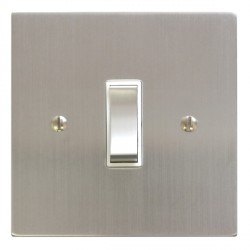Focus SB Ambassador Square Corners NASC11.1W 1 gang 20 amp 2 way rocker switch in Satin Chrome with white inserts