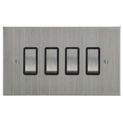 Focus SB Ambassador Square Corners NASC11.4B 4 gang 20 amp 2 way rocker switch in Satin Chrome with black inserts