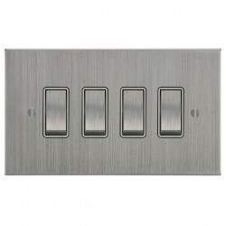Focus SB Ambassador Square Corners NASC11.4W 4 gang 20 amp 2 way rocker switch in Satin Chrome with white inserts